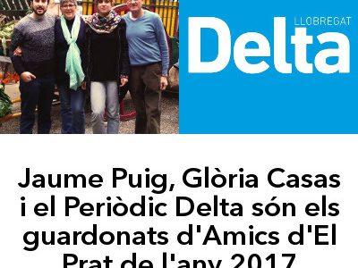 Jaume Puig, Glòria Casas i el Periòdic Delta són els guardonats d'Amics d'El Prat del 2017